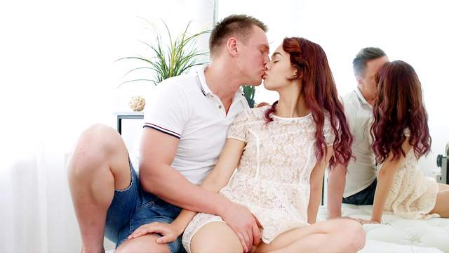 Young redhead lands the big dick in both of her tiny holes