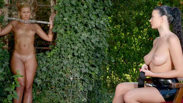 Lucy Li treats submissive girlfriend Tracy Lindsay to outdoor BDSM session