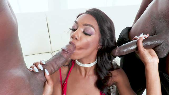BBC double penetration for sultry black girl Chanel Skye