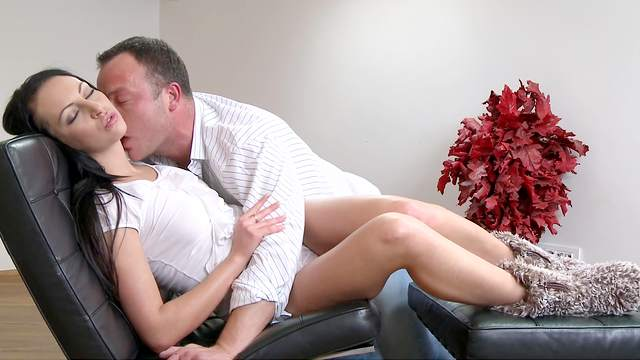 Brunette with long hair, naked sex and oral fun on a leather chair