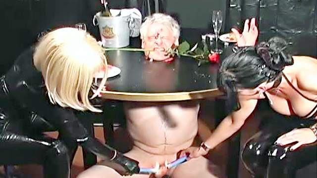 BDSM, Blonde, Bondage, Femdom, HD, Latex, Old man, Pain, Smoking, Spanking, Threesome, Wax, Wrap bondage