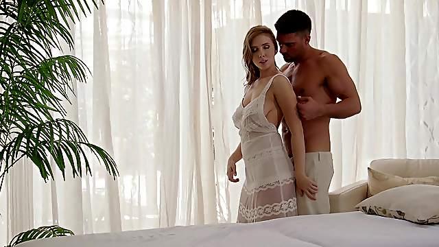 Hot busty MILF enjoys sensual massage with sex