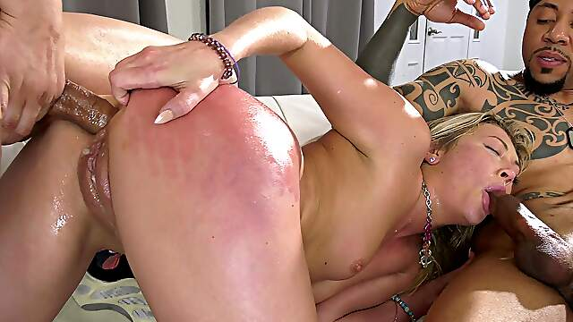 Interracial anal gangbang with Adira Allure and her black friends