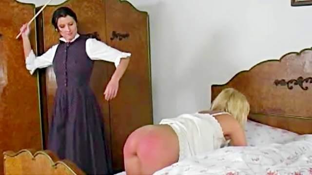 Ass, Bedroom, Blonde, Brunette, Femdom, Mom, Naughty, Retro, Spanking