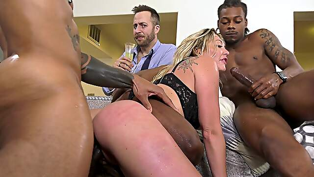 MILf shared by black stallions in ruthless cam XXX