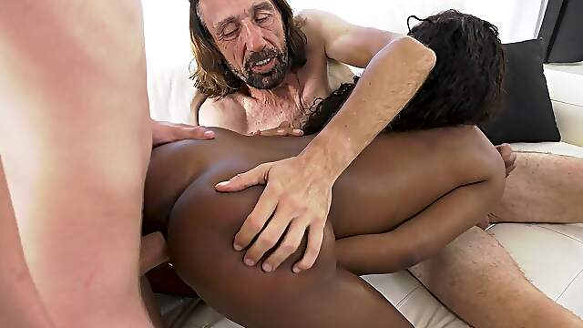 Aroused ebony shared by her boyfriend with his old man