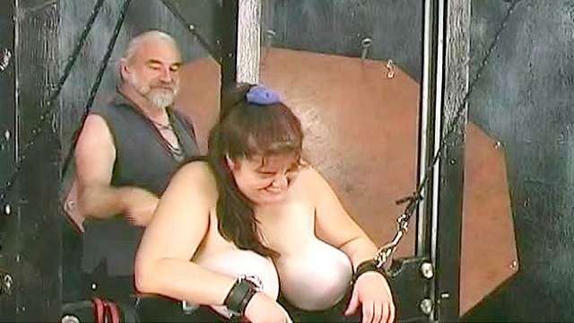 BDSM, Dungeon, Fat, Guillotine, HD, Old man, Pain, Spanking