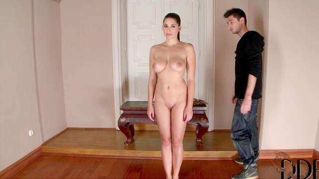 Brunette babe Zafira with natural big tits wants her headmaster to punish her