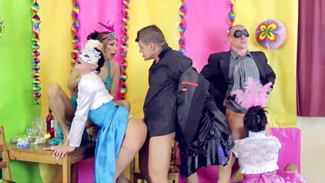 Masquerade ball becomes a wild orgy