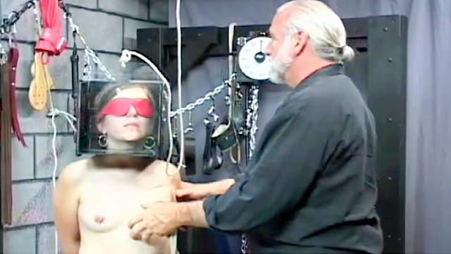 BDSM, Big tits, Blindfold, Brunette, Hanging, Maledom, Rope, Shaved pussy