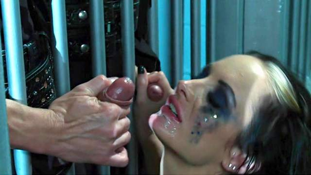 Alektra Blue sucking two giant cock in the prison