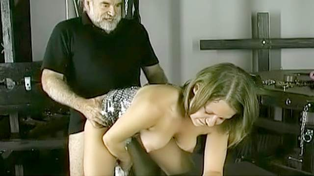 BDSM, Guillotine, HD, Old and young, Stockings, Vibrator