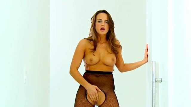 Teal Conrad takes off her sexy tight nylons