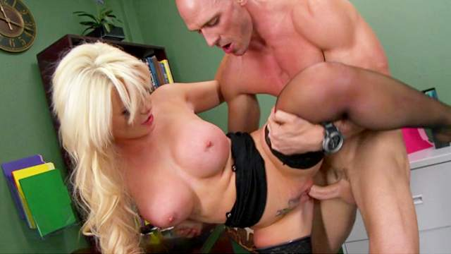 Busty blonde Alexis Ford is sucking Johnny Sins'd dick