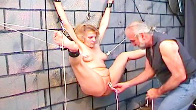 BDSM, Blonde, Clothespins, Domination, Handcuffs, Hanging, HD, Mature, Mom, Old man, Pain, Shaved pussy, Slave, Spanking