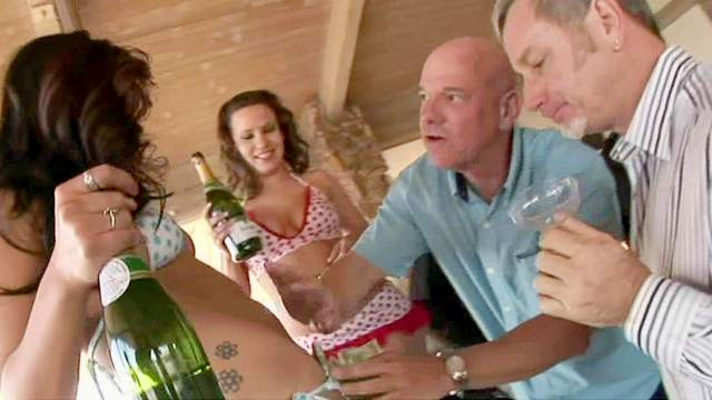 Drunk party with slender London Keyes
