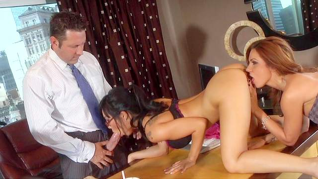 Slutty babes Asa Akira and Kirsten Price in the office