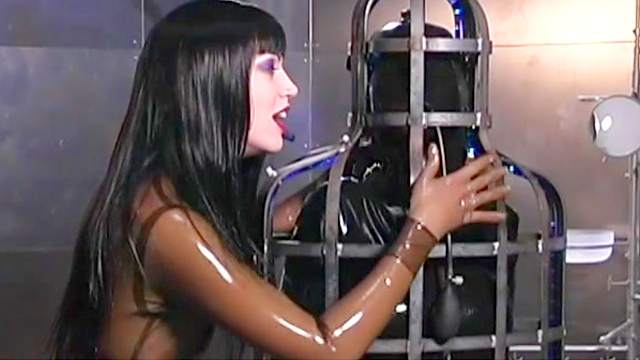 Brunette, Cage, Domination, Femdom, Latex, Slave, Torture